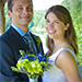 Bride and Groom with Blue and Chartreuse Bouquet